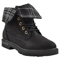Girls Foldover Combat Ankle Boots Black