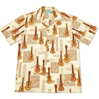 ukulele madness white hawaiian cotton shirt