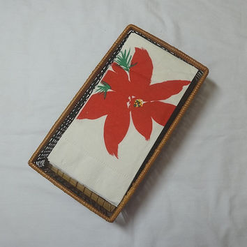 1980s Vintage Avon Holiday Guest Towels in Basket, Avon Christmas Gift Collection in Box, 12 Paper Poinsettia Napkins, Vintage Avon Product