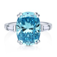 Sterling Silver Oval Blue CZ Solitaire Ring1 Review(s) | Write A ReviewSKU# R1079-01