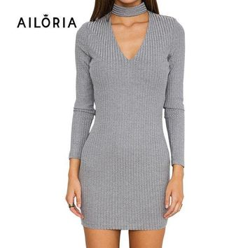 PEAPUNT AILORIA Apparel Autumn sexy halter knitted dress Women winter elegant bodycon dress Casual black vestidos short sweater dresses