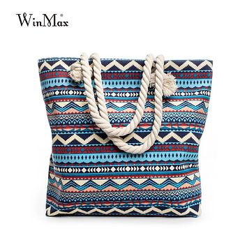 Summer Women Canvas Bohemian Style Striped Shoulder Beach Bag Woman Casual Tote Shopping Big Bag Floral Messenger Bags