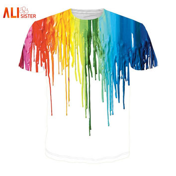 Alisister Newest Melting Color Tee Shirt Crewneck