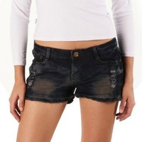 Jessie G. Women's Low Rise Destructed Denim Frayed Short Shorts - Size 8