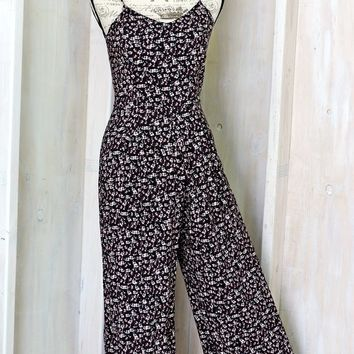 Jumpsuit / Summer Romper / size XS / S / Womens playsuit / Boho / 90s grunge / wide leg one piece pantsuit