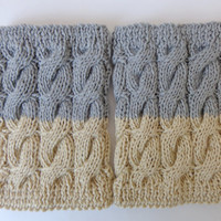 Knitted Boot Cuffs Reversible 2 in 1 Boot Socks Boot Topper Leg Warmer Choose Your Color
