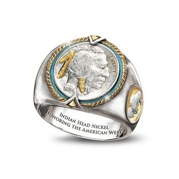 Indian Head Nickel Men's Ring by Bradford Authenticated