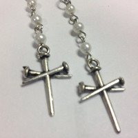Earrings Long Faux Pearl Silver Cross OOAK