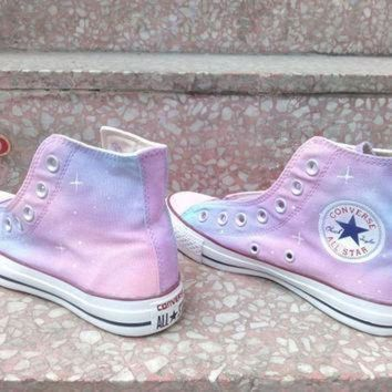 ICIKGQ8 pink galaxy converse shoes custom converse galaxy converse sneakers hand painted on c