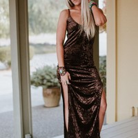 Sarita Crushed Velvet Maxi Dress - Dark Brown