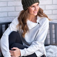 Headed To Aspen Fleece Lined Collar Pullover : Cream