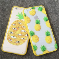 "New Arrival Hot Summer Cool Pineapple TPU Frame + PC Phone Back Cover Phone Cases For Iphone 6 4.7"" Phone Case Accessories YC597"
