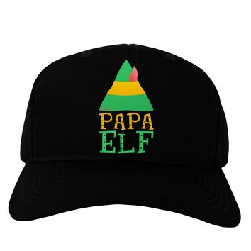Matching Christmas Design - Elf Family - Papa Elf Adult Dark Baseball Cap Hat