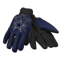 Dallas Cowboys Blue Raised Team Logo Licensed NFL Sport Utility Gloves-New!