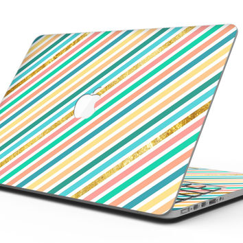 Tropical Summer Gold Striped v1 - MacBook Pro with Retina Display Full-Coverage Skin Kit