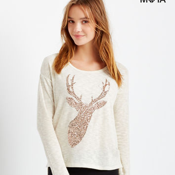 Aeropostale  Long Sleeve Sequin Reindeer Top