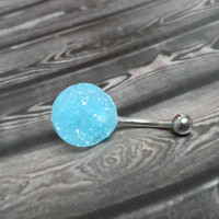 Aqua Sea Blue Druzy Belly Button Jewelry Ring
