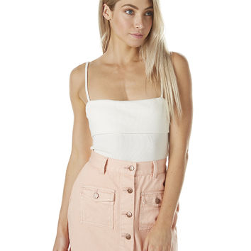 MINKPINK WOMENS FOLDED RIBBED CAMI - OFF WHITE
