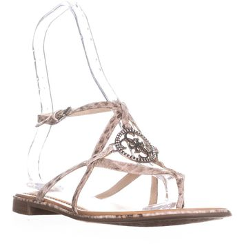 Guess Romie3 Logo T-Strap Sandals, Medium Natural, 10 US