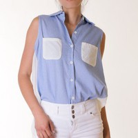 LIGHT-BLUE CHAMBRAY CHIFFON ACCENT TOP @ KiwiLook fashion