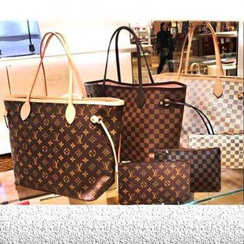 ESBONS LV Louis Vuitton Flor Women Girl Monogram Canvas Neverfull Two piece And Key pouch-Coin purse