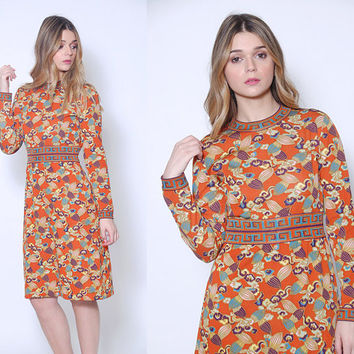 Vintage 60s Designer GOLDWORM Dress FLORAL Print Dress Vintage 60s Vintage Dress Graphic Print Dress