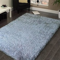Hand Tufted Shag Viscose Solid Area Rug SILVER