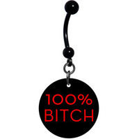 Black Red 100 Percent Bitch Belly Ring | Body Candy Body Jewelry