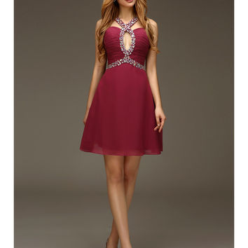 New Juniors Short Prom Dresses A-line Burgundy Sexy Open Back Beaded Chiffon 2016 High School Party Cocktail Dresses With Strap