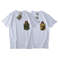 Camouflage ape head male and female round neck collar cotton short sleeves [10609286407]