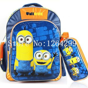 New Fashion Despicable Me Minions Blue Boys Students School Bags With Pencil Bag Set Kids Backpack For Children