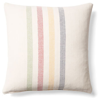 French Laundry Home, Stripes 20x20 Linen Pillow, Multi, Decorative Pillows