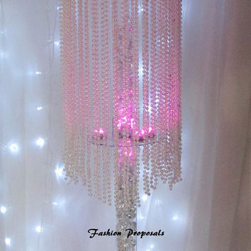 20 Table top chandelier Wedding  centerpiece, 1 tier  of iridescent Pearls, Wedding Centerpiece. set of 20 799.00