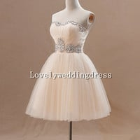 Ball Gown Strapless Rhinestone Sweetheart Tulle Wedding Dress Prom Dress Bridesmaid Dress Homecoming Dress Cocktail Dress Evening Dress