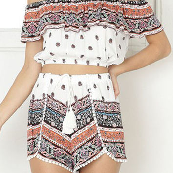 Polychrome Tribal Print Off Shoulder Crop Top And High Waist Shorts