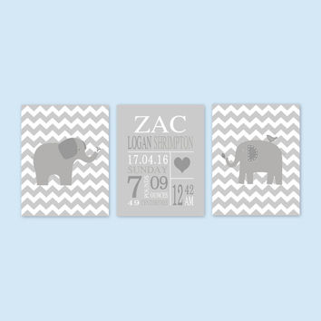 Elephant Birth Announcement for boys, gray nursery decor, Personalized art, birth stats prints, gray nursery art -UNFRAMED YassisPlace