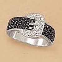 Silver/Black Rhodium Plated Sterling Buckle Ring, 1mm Black/Clear CZ Pave, Sizes 5-9, 3/8 inch