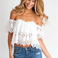 White Cut Out Off Shoulder Crop Top