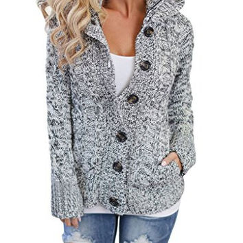 Annflat Women's Hooded Cable Knit Button Down Cardigan Fleece Sweater Coat