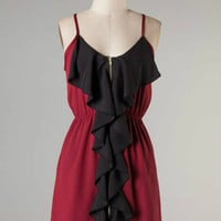 Ruffle Touch Down -- Crimson/Black