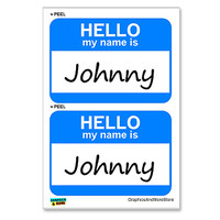 Johnny Hello My Name Is - Sheet of 2 Stickers