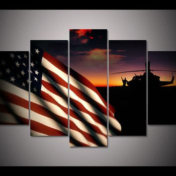 American Flag Military Helicopter at Sunset 5 Panel Wall Art Canvas Panel Print