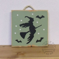Flying Witch With Bats | Wood Sign | SKU-601