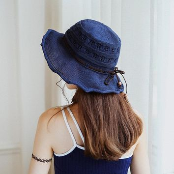 Women Breathable Foldable Sunscreen Fisherman Hat Casual Flouncing Knitted Visor Bucket Hat