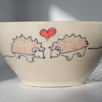 Handmade Ceramic Bowl Hedgehogs in Love Bowl by abbyberkson