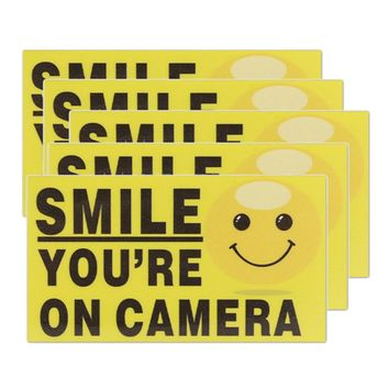 """5x """"Smile You're On Camera"""" Self-adhesive Video Alarm Safety Warning Stickers Sign"""