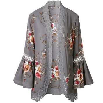 Gray Floral Flounced Cardigan Shirt
