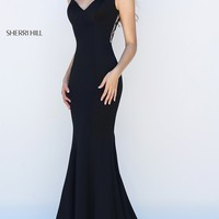 Floor Length Classic Sherri Hill Illusion Back Prom Dress