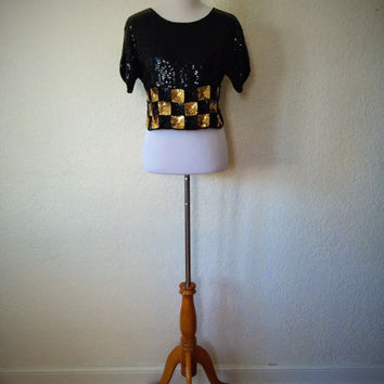 Vintage 90's Silk Crop Top with Black and Gold Sequin Detailing