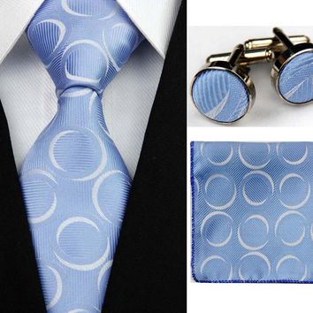 Suit Necktie Ties for Men Gravatas Mens Hanky Handkerchief Cufflinks SNT